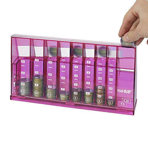 HMF 4710-15 Münzsortierer Euro Spardose 24,0 x 5,0 x 12,0 cm, pink