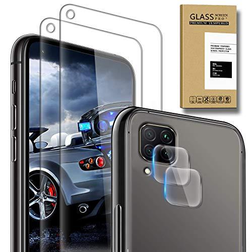 SAMCASE [2 Pack] Protector de Pantalla para Huawei P40 Lite y [2 Pack] Protector de Lente de cámara, Cristal Templado [9H Dureza] [Sin Burbujas] [Anti-Arañazos] HD Cristal Vidrio Templado
