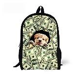 CHAQLIN - Mochila para niños, diseño de perro y gato Verde Perro-4 Medium