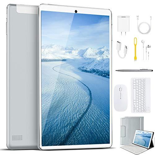 Tablet 10 Pollici con Wifi Offerte 4G, DUODUOGO Tablet PC Offerte Android 9.0 Pie Memoria RAM da 4GB RAM+64GB ROM Tablet Sbloccato con Dual SIM,Tablet Offerta Del Giorno OTG Netflix (Argento)
