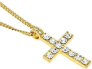 Lvhenongye Unisex Necklace Hip Hop Men Stainless Steel Cross Necklace (Gold) Clothing Accessories for Your Friends and Family