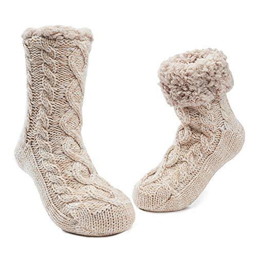 MaaMgic Calcetines Antideslizante Mujer Tejer Doble Lana Calcetines de Casa Invierno Navidad