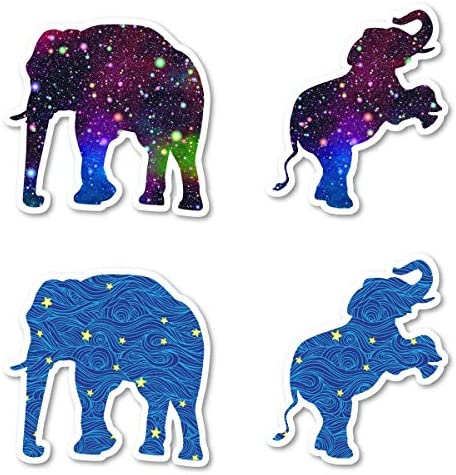 Elephant Galaxy and Stars Sticker Pack Elephant Stickers 4 Pack Sticker Vinyl Decal Laptop Phone product image
