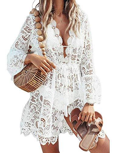 Femme Plage Mini Robes Tunique Dentelle Bikini Cover Up Crochet Col V Sarong Beachwear Cache-Maillot Col V (Blanc, S)
