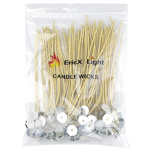 EricX Light Organic Hemp Candle Wicks, 100 Piece 8 Pre-Waxed by 100% Beeswax & Tabbed, for Candle Making