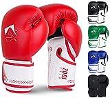AQF Guantes De Boxeo para MMA Muay Thai Boxing Bag Guantes Boxeo De Kick Boxing Saco De Boxeo De Pie Y Punching con Capas Extra De Acolchado (Rojo, 12oz)