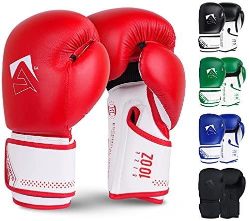 AQF Guantoni Boxe per L'addestramento & MMA Muay Thai Sacco da Box Sparring MMA Guanti Boxe per Kick Boxing Fighting con Strati Extra di Imbottitura (Rosso, 10oz)