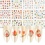 MiaoWu 24 Sheets 3D Fall Nail Art Stickers Thanksgiving Autumn Nail Decals Water Transfer Pumpkin Squirrel Turkey Maple Leaves Nail Art Design Sticker Nail Arts DIY Nail Decorations Halloween Party(type3)
