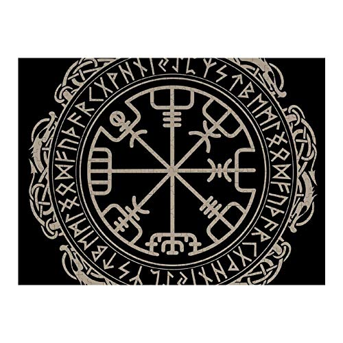 500 Piece Jigsaw Puzzle - Educational Toys & Fun Games - Unique Black Celtic Viking Design Magical Runic Compass Vegvisir in The Circle of Norse Runes and Dragons Tattoo Decorative Puzzles