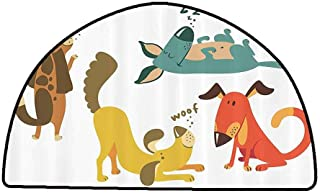 Floor Mat Entrance Doormat Dog Lover Decor Collection,Cute Dogs Sitting Sleeping Smiling Standing Playful Friendship Humor Fun Art,Mustard Teal Brown,W47 x L31 Half Round Truck mats