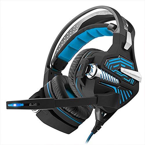 ZENWEN Gaming-Kopfhörer, 7.1-Kanal professionelle Stromschlag Computer Kopfhörer beleuchtet USB-Anschluss Kabel Bass Stereo-Notebook m Icrophone (schwarz-blau)