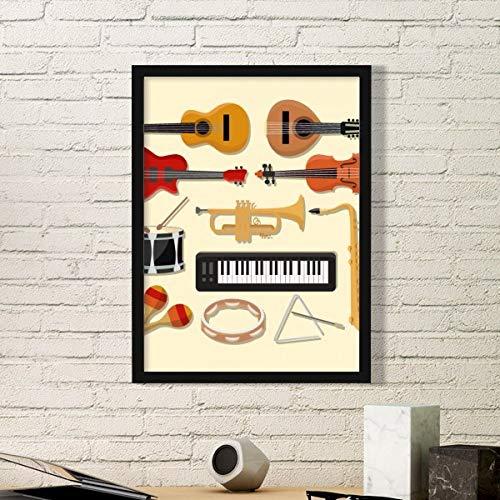 DIYthinker Elektrische Piano Trombone Gitaar Muziek Eenvoudige Beeld Frame Kunst Prints Schilderijen Thuis Muursticker Gift