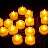 fourHeart LED Weihnachten Kerzen D36 x H36 MM (12er Set) Teelichter flammenlose Fest Licht Beleuchtung mit Flackereffekt batteriebetrieben, perfekt für Parties, Konzerte Hochzeit, Geburtstag und Festivals wie Halloween und Weihnachten entworfen - warm Gelb