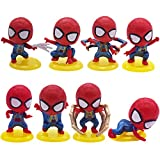 Mini Juego de Figuras Decoración para Tartas YUESEN 8pcs Mini Modelo de Spiderman Decoración para Tartas, Suministros para Fiestas, Figuras para Magdalenas, Suministros