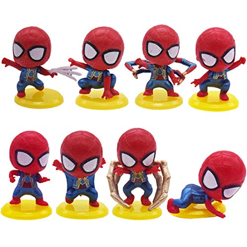 Mini Figuren Set Geburtstags Party YUESEN 8pcs Spiderman Cake Tortenfiguren MiniFiguren Tortendeko, Cake Topper, Geburtstags Party liefert Cupcake Figuren,für Kindergeburtstag deko Mädchen /Junge