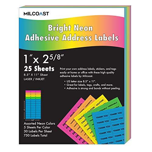 Milcoast Bright Neon Address Labels