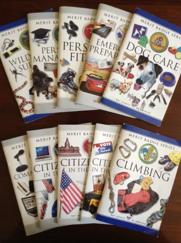 Boy Scouts of America, Merit Badge Series, Set of 10 Books (Hiking; Communications; Emergency Preparedness; Indian Lore; Wood Carving;, Bird Study; Personal Management; Photography; Safety; Sports)