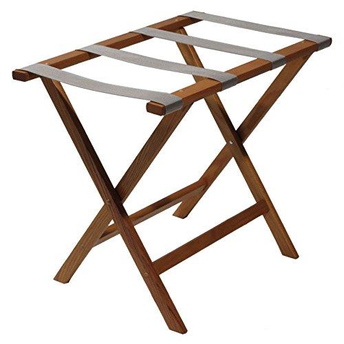 Wooden Mallet Deluxe Straight Leg Luggage Rack,Grey Straps, 20' H x 23.75' W x 15.5' D, Medium Oak