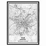 Ulm Deutschland Karte Wandkunst Leinwand drucken Poster