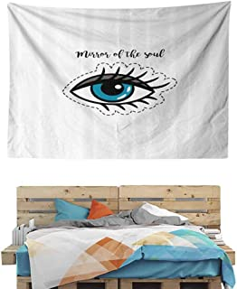 HuaWuChou Mirror of Soul Quote Tapestry, Wall Hanging Decor Decoration Beach Blanket Dorm Room Bed Sheets, 59W x 51.1L Inches
