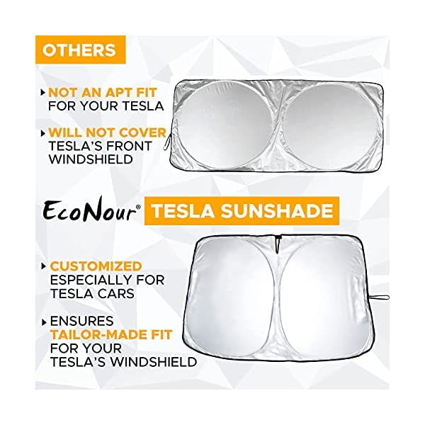 econour tesla windshield sunshade for model 3/s/x/y with pouch | sun visor blocks uv rays to keep your vehicle cool and…