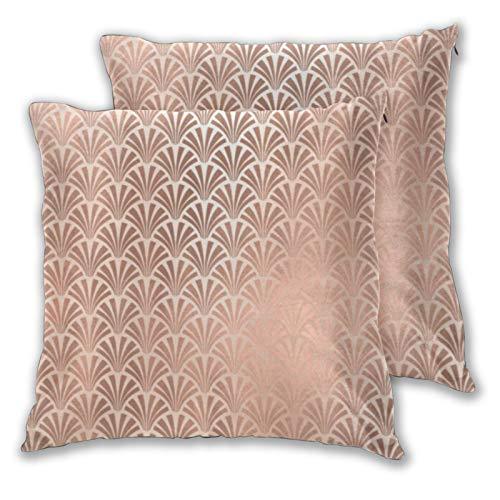 Juego de 2 fundas de almohada cuadradas, fundas de cojín decorativas para el hogar, color rosa y oro rosa, para dormitorio, sofá, sala de estar, 45,7 x 45,7 cm