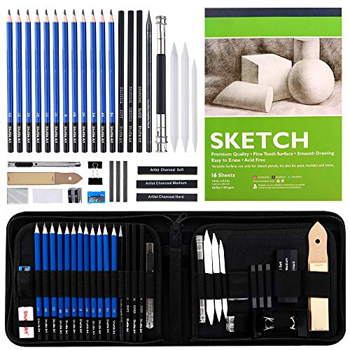 Sketching and Drawing Pencils Set 37Piece Professional Sketch Pencils Set in Zipper Carry Case Drawing Kit Art Supplies with Graphite Charcoal Sticks Tool Sketch book for Adults Kids by Shuttle Art