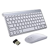 Teclado Inalámbrico y Mouse, EONANT Teclado 2.4G y Mouse Combo Set Ratón Ajustable Compacto de Tamaño Completo para DPI, Windows, Surface, Android Smart TV-UK Layout (Plata)