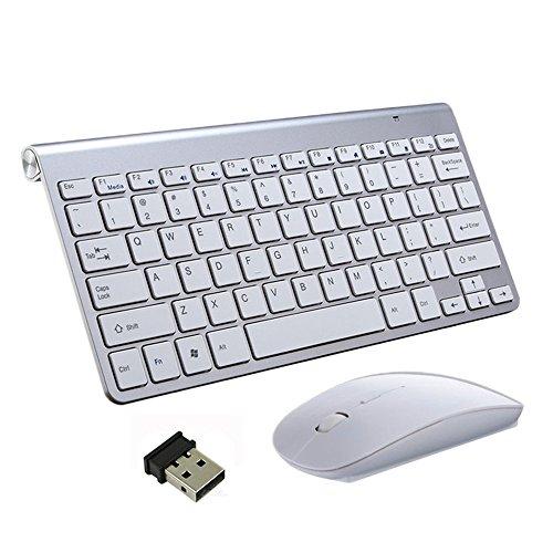 Tastiere e Mouse Wireless, EONANT Tastiera 2.4G e Mouse Combo Set Mouse Regolabile DPI Compatto a Grandezza Naturale per Windows, Surface, Android Smart TV-US Layout (Argento)