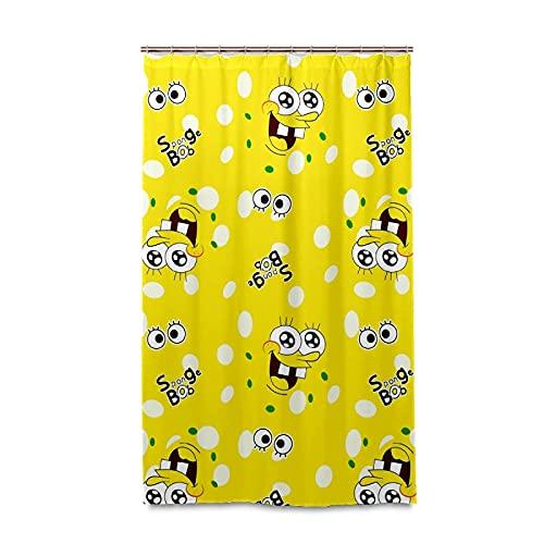 XXzhang Spongebob Vector Cartoons Duschvorhang mit Haken – 48 x 72 Zoll wasserdichter Standard Duschvorhang für Badezimmer, Dusche, Badewannenvorhang-Sets mit 12 Haken