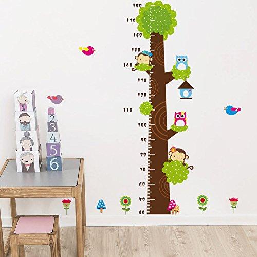 Qianxing abnehmbares wiederverwandbares Körpergröße Wandbild in Tier Stil Serie Cartoon Animal Wallsticker Wandtattoo für Kinder Messlatte Messen Aufkleber für Wohnzimmer und Kinderzimmer Deko Wandpapier in verschiedene Größe und Motive (Affe Eule und Grün Baum)(81*144)