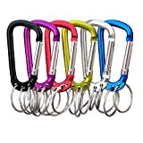 VictorsHome Carabiner Clip Keychain Aluminum Alloy D Shape Multifunction Clip Hook with 3 Key Rings for Outdoor Backpack Multi-Color 6 Pack