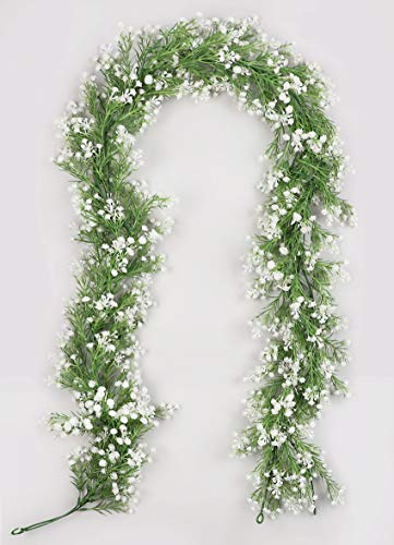 CHIBO 2Pcs 5.8 Ft Artificial Baby Breath Flower Vines Faux Real Touch Gypsophila Garland for Wedding Home Arch Indoor Outdoor Decorations