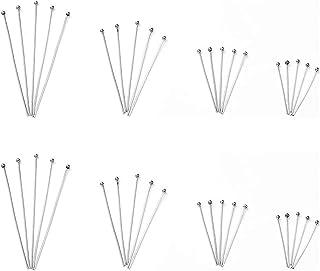 Lot de 280 épingles à tête sphérique en acier inoxydable pour confection de bijoux, couture et travaux manuels