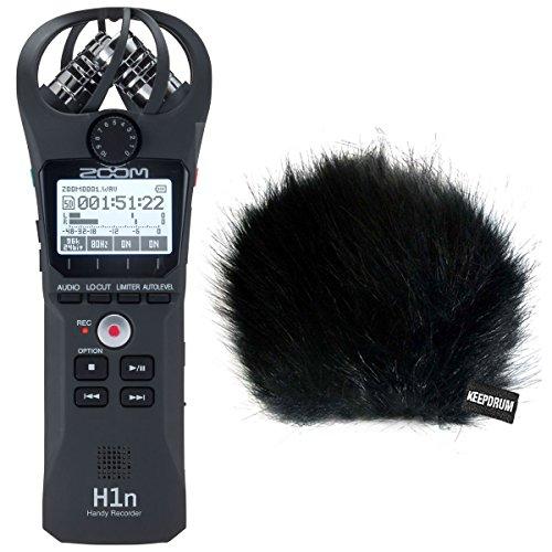 Zoom H1n Mobiler Handy Recorder + keepdrum Fell-Windschutz WSBK