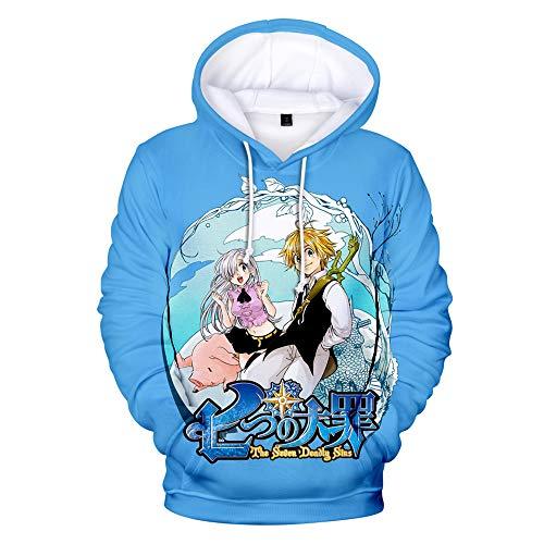 Nanatsu No Taizai The Seven Deadly Sins Felpa con Cappuccio, 3D Stampato Anime The Seven Deadly Sins Felpa con Cappuccio a Maniche Lunghe Pullover a Maniche Lunghe Giacca per Uomo Donna