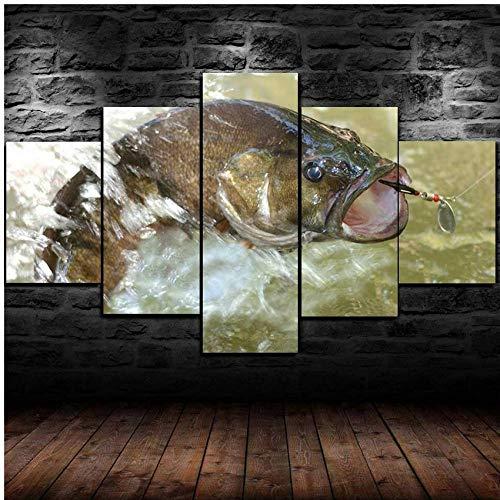 5 Piezas Lienzo Arte De Pared Cebo De Señuelo De Pesca De Lubina Fotos Sala De Estar Pintura Decorativa Moderna Sofá Casero Decoración De Fondo Restaurante Cartel Mural