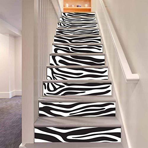 MTX Ltd Westlichen Stil Kreative Wanddekoration Schwarz Weiß Zebra Streifen Treppe Aufkleber DIY Abnehmbare Selbstklebende Wasserdichte Wandbild