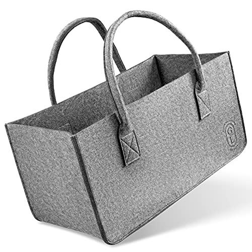 GLOBAL LIVING GL EST. 2021 Premium Filztasche für kaminholz, filztaschen shopper , auch als einkaufstasche verwendbar, aufbewahrung filz , xxl Tasche in 25x25x50 cm