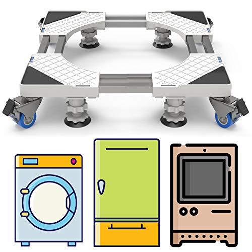 DEWEL Einstellbar Wachmaschinen-Untergestell, 54-68cm Doppelrohr Waschmaschinen Untergestell Maschinen Sockel für Kühlschrank Trockner Waschmaschine, 4 Füße und 4 Räder