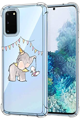 Oihxse Crystal Coque pour Samsung Galaxy J2 Prime/G532/G530 Transparent Silicone TPU Etui Air Cushion Coin avec Motif [Elephant Lapin] Housse Antichoc Protection Bumper Cover (A12)