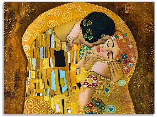 Wallario Stilvolle Glasunterlage/Schneidebrett aus Glas, Der Kuss von Klimt, Größe 30 x 40 cm, Kratzfest, aus Sicherheitsglas