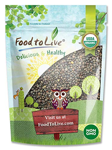 Organic French Green Lentils by Food to Live (Whole Dry Beans, Non-GMO, Kosher, Raw, Sproutable, Bulk)