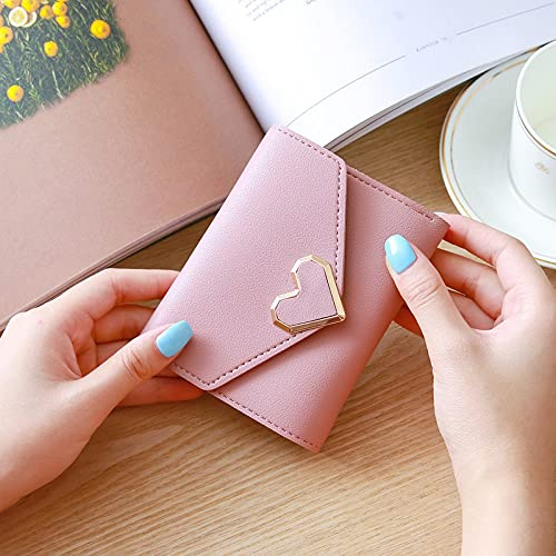 Aoten Retro Sweet Style Heart Shape Buckle Short Purse Small Money Clip Pocket for Women
