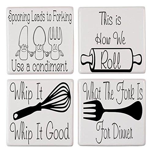 WaterShed Designs Pegatinas de cerámica para Azulejos de Cocina, diseño de Humor (4 Unidades)