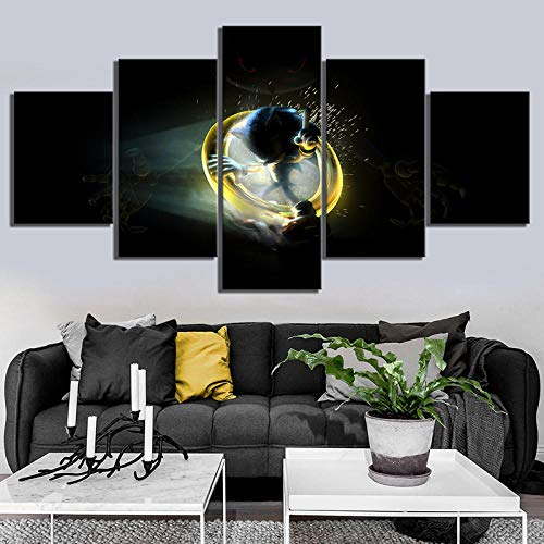 LIVELJ 5 Piece Sonic The Hedgehog Movie Poster Paintings HD Games Art Print Super Sonic Pictures Canvas Paintings for Wall Decor Framed
