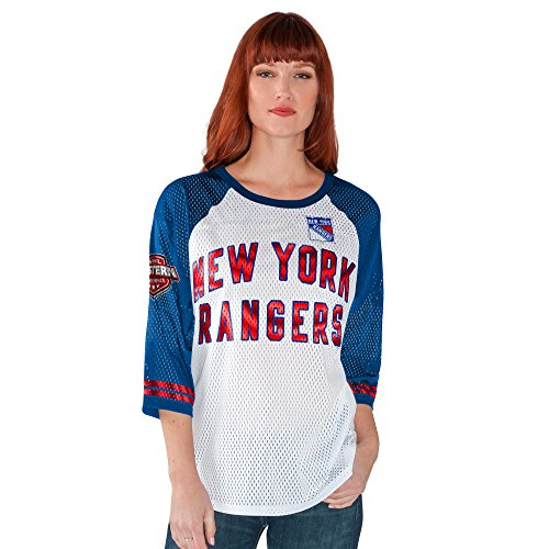 G-III Sports NHL New York Rangers Women's All Star Mesh Top, X-Large, White/Royal (Brand Names Of Clothing That Start With G)