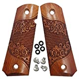 Dan Eagle 1911 Full Size Grips Exotic Solid Rosewood Scroll Design Fits Government, Commander