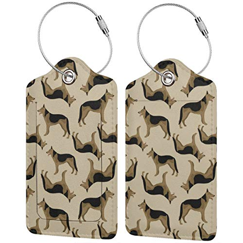 German Shepherd Alsatian Dog Personalized Leather Luxury Suitcase Tag Set Travel Accessories Luggage Tags