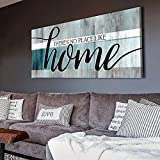 Sense of Art | No Place Like Home Quote | Wooden Framed Canvas | Ready to Hang Wall Art for Home Decoration (Teal, 42x19)…